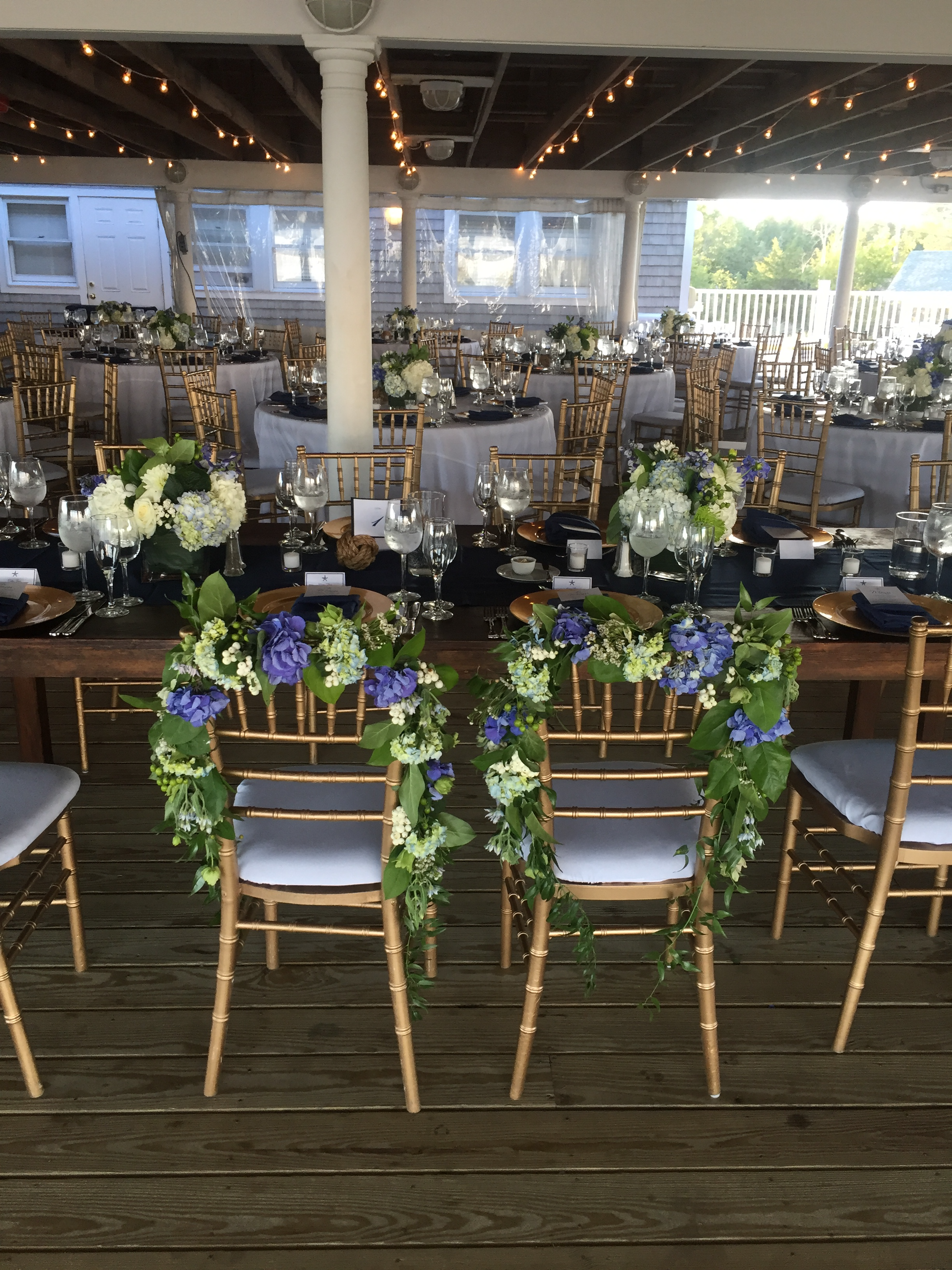 reception flower chairs